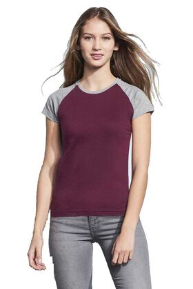 Γυναικείο δίχρωμο T-shirt με ρεγκλάν μανίκια sols 11195